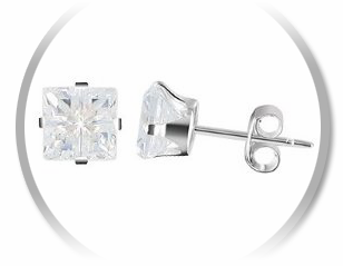 Simulated Diamond Earrings Set in Sterling Silver