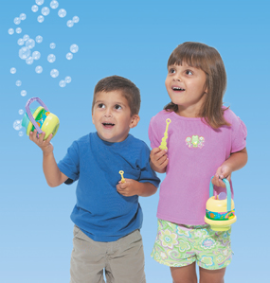 Kids with Bubble Bucket