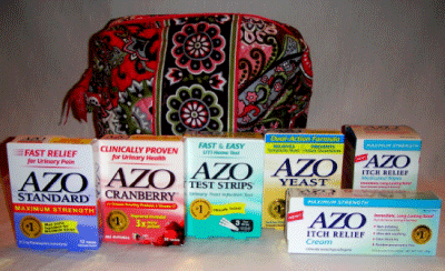 AZO Products Emergency Kit in a Vera Bradley Bag