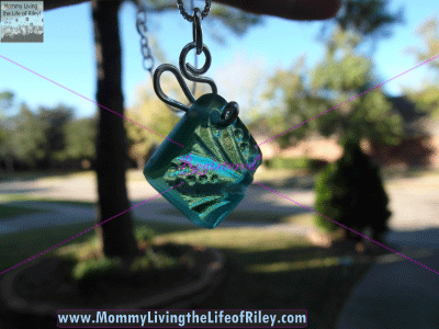 Bottled Up Designs Teal Sandwich Glass Ribbon Necklace