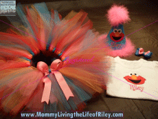 Elmo Tutu Set with Birthday Hat from Glitz & Glam Bowtique