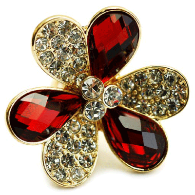 Maisey's Chunky Red Crystal Flower Fashion Ring from Fantasy Jewelry Box