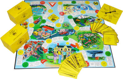 The Play It Safe game contains 4 game pieces, two sets of question cards ...