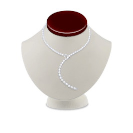 Pearlotica White Freshwater Pearl Lariat Necklace