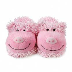 Aroma Home Fuzzy Friends Pig Slippers