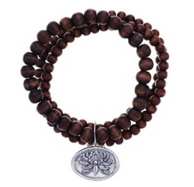 Baroni Recycled Wood Lotus Charm Stretch Bracelet