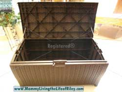 Hayneedle Suncast Resin Wicker 99 Gallon Deck Box