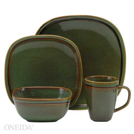 Oneida Asheville Green Dinnerware Set