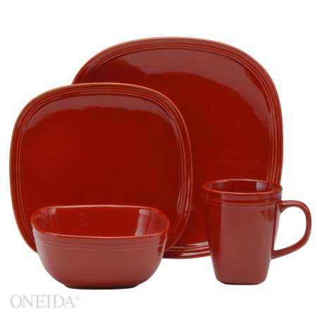Oneida Asheville Red Dinnerware Set