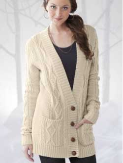 Gaiam Heirloom Cable Cardigan