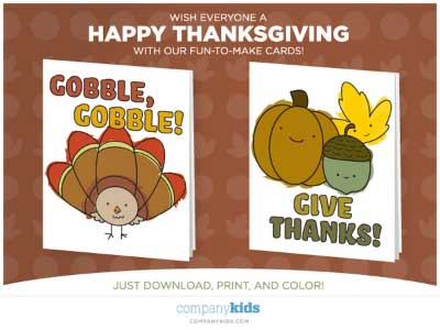 Free Thanksgiving Cards from Company Kids