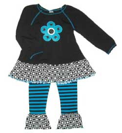 Blue Turtle Kids Mis-Tee-V-Us Black Peasant Swing Top Squares Gathered Pants