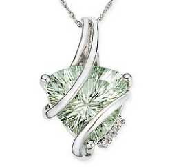 Trillion Cut Green Amethyst and Diamond 14K White Gold Pendant