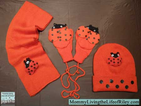 Kidorable Ladybug Mittens, Hat and Scarf