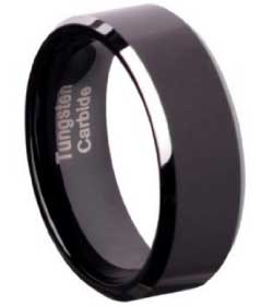 Ozeri Tungsten Carbide Comfort Fit Flat Wedding Band