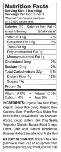 PROBAR fruition Nutritional Information