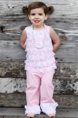 RuffleButts Lace Ruffle Knit Set in Pink