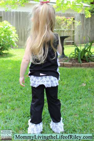 RuffleButts Lace Ruffle Knit Set in Black
