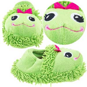 Crazy for Bargains Green Frog Toddler Slippers for Girls