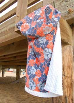 Cody Orange and Blue Hibiscus Print with White Minky Stroller Blanket from Keep 'Em Cozy...By Oz