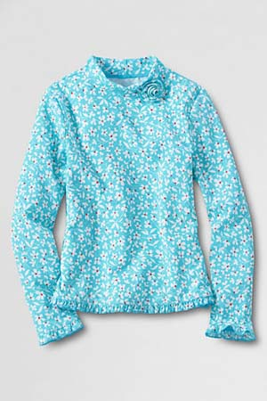 Lands' End Girls' Long Sleeve Flower Mockneck Rash Guard