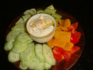 Zucchini Hummus with Veggies