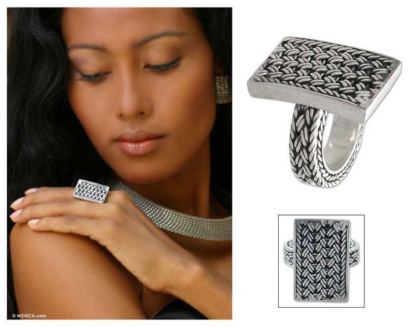 NOVICA Woven Elegance Ring