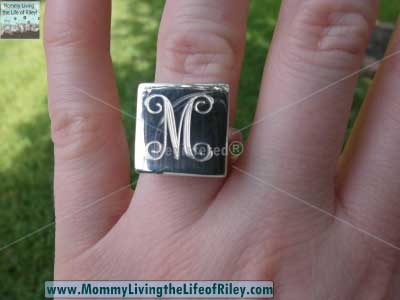 Chic Monkey Boutique Monogrammed Sterling Silver Square Ring