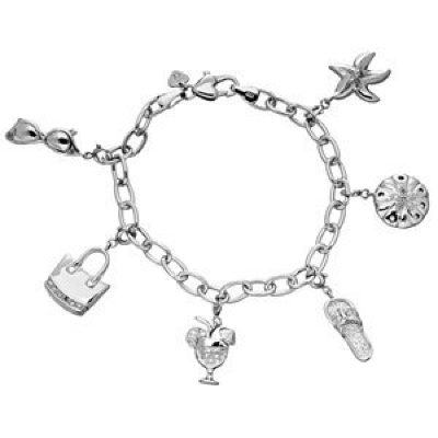 Amoro Sterling Silver and Diamond Sea Charm Bracelet