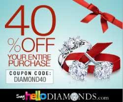 Say Hello Diamonds 40% OFF Discount Coupon Code