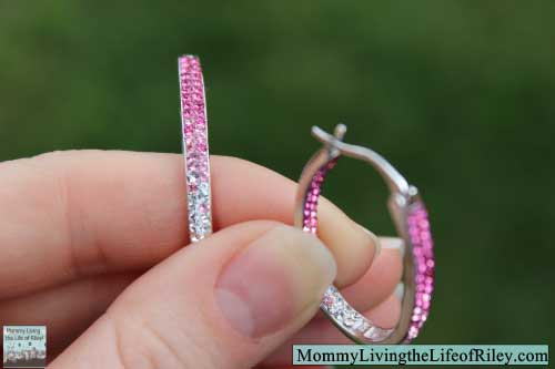 Jewelry Megastore Sterling Silver Inside/Outside Crystal Hoop Rose Earrings