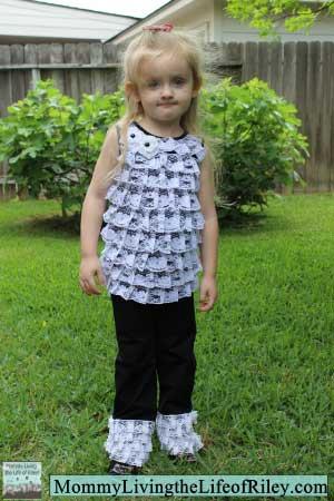 RuffleButts Lace Ruffle Knit Set in Black